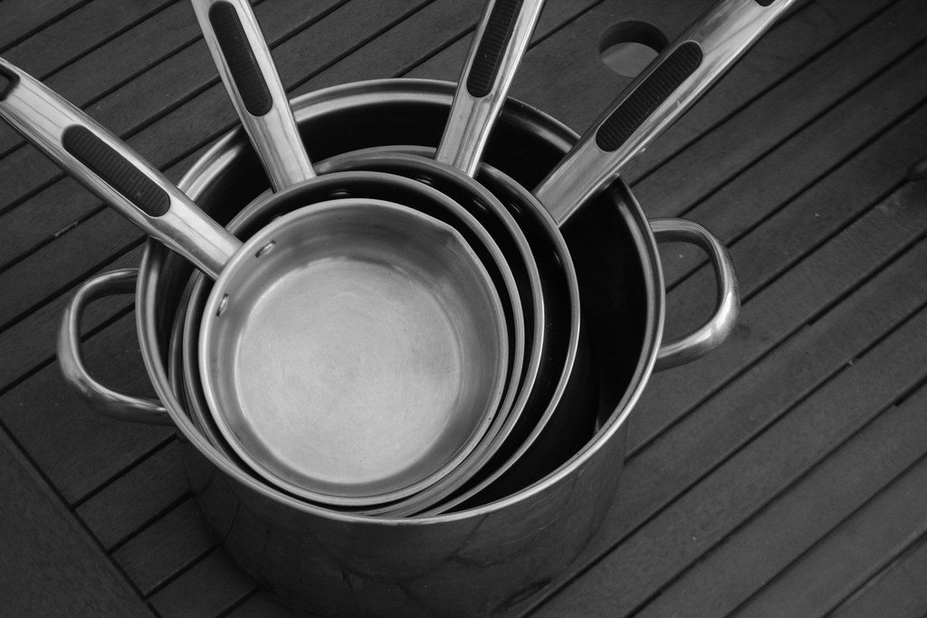 collection of cooking pans