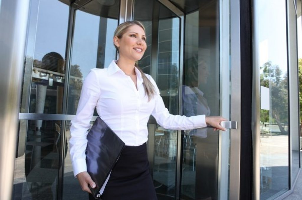 Woman leaving the office